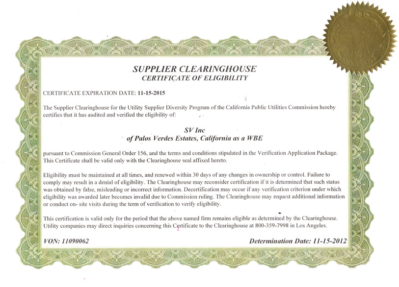 Women Business Certificate